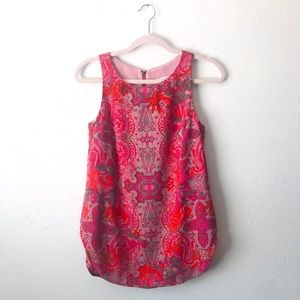 🆕 CAbi pink and red tank top with zipper A16